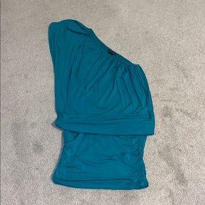 Teal one shoulder mini skirt dress